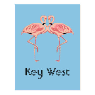 Postal Pares rosados del flamenco de Key West la Florida