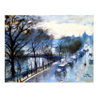 Postal París, paisaje urbano del vintage del día lluvioso