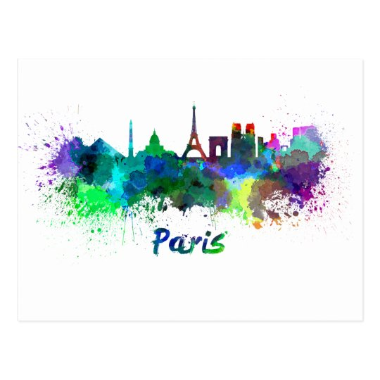 Postal Paris skyline in watercolor