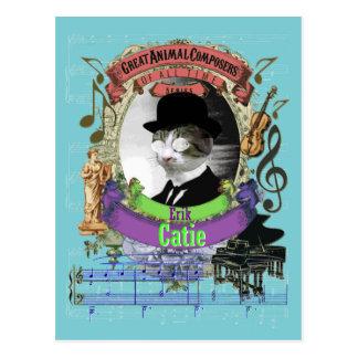 Postal Parodia animal de Satie del compositor del gato de