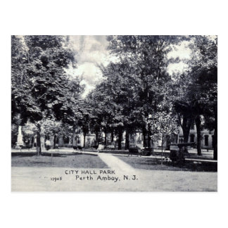 Postal Parque de ayuntamiento, vintage de Perth Amboy NJ