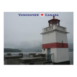 Postal Parque de Stanley del faro Vancouver Canadá