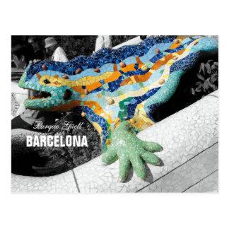 Postal Parque Guell de Barcelona Gaudi