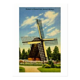 Postal Parque vintage de Holanda, Michigan del molino de