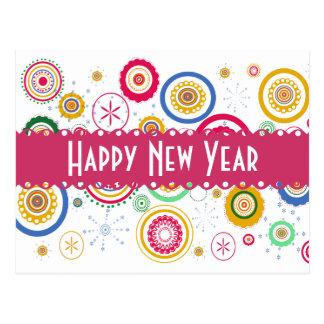 Postal ¡Partee del Año Nuevo! Círculos enrrollados