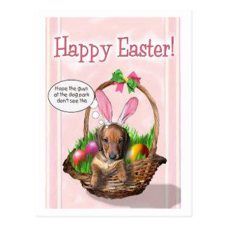 Postal Pascua feliz de un perrito de Doxie