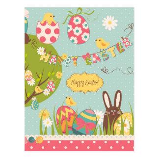 Postal Pascua grande fijada con el conejo lindo del