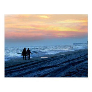 Postal Paseo de la playa de la puesta del sol de los