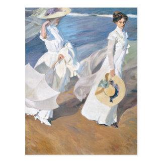 Postal Paseo por la playa - Sorolla - 1909