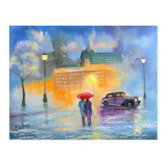 Postal Paseo romántico de los pares del paraguas rojo del