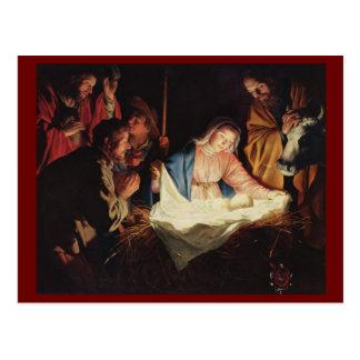 Postal Pastores que adoran de Gerard van Honthorst