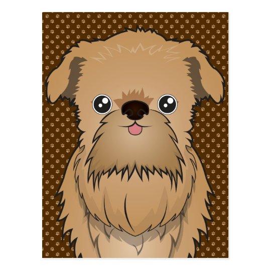 Postal Patas del dibujo animado del perro de Bruselas