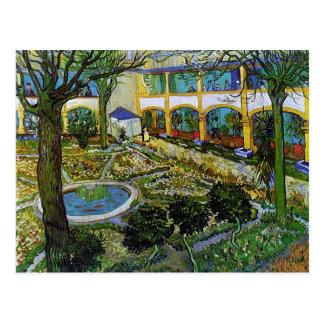 Postal Patio del hospital en Arles, Vincent van Gogh