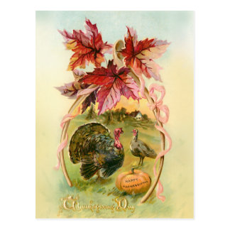 Postal Pavos del vintage, Wishbone y hojas de otoño
