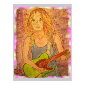 Postal Paz del chica de la guitarra en la tierra