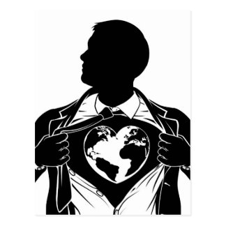 Postal Pecho de rasgado de la camisa del super héroe del