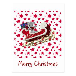 Postal Peluche del trineo del navidad