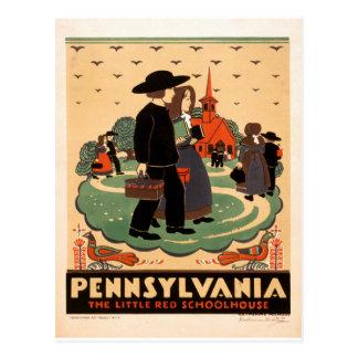Postal Pennsylvania - la pequeña escuela roja