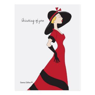 Postal Pensamiento en usted chica en vestido rojo