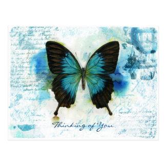 Postal Pensamiento en usted estilo azul del Victorian de