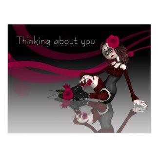 Postal Pensando en usted - la muñeca de trapo gótica con