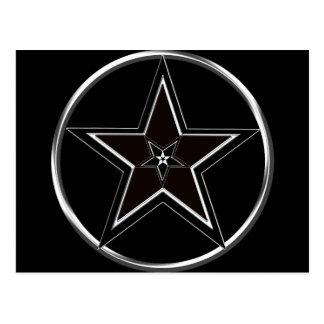 Postal Pentáculo negro y de plata con pentagram invertido