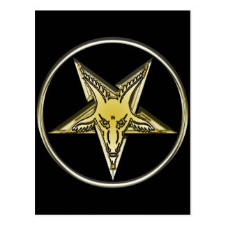 Postal Pentagram invertido con la cabeza de oro de la