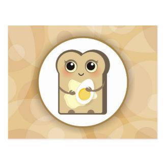 Postal Pequeña tostada linda - mantequilla y huevo