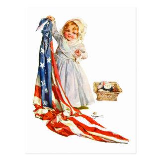 Postal Pequeño Betsy Ross y la bandera de América