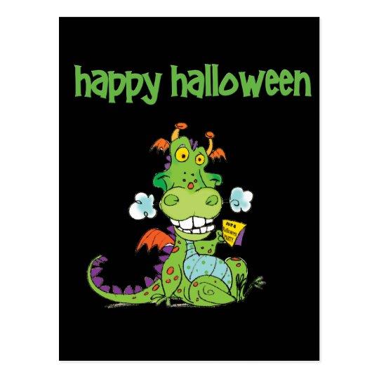 Postal Pequeño dragón verde lindo de Halloween