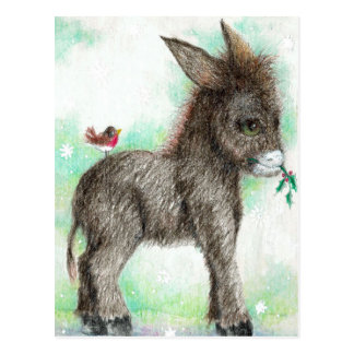 Postal Pequeño empollón del burro y petirrojo birdy del