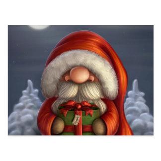 Postal Pequeño Santa con un regalo