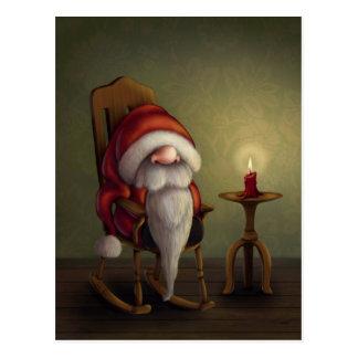 Postal Pequeño Santa en su mecedora