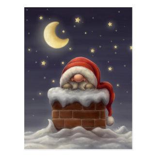 Postal Pequeño Santa en una chimenea