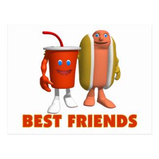 Postal Perrito caliente y soda de los mejores amigos