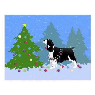 Postal Perro de aguas de saltador negro que adorna el