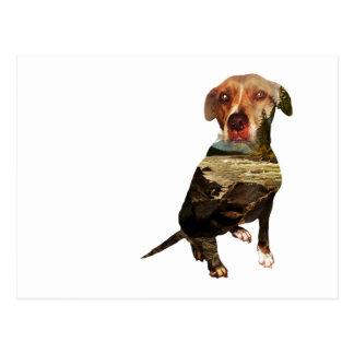 Postal perro de la exposición doble