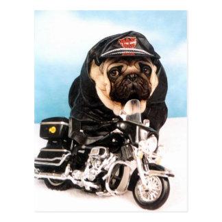 Postal Perro del barro amasado del motorista