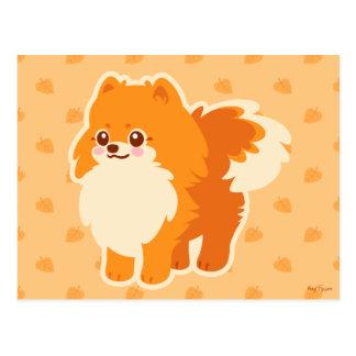 Postal Perro del dibujo animado de Kawaii Pomeranian