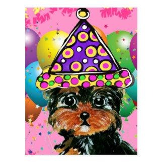 Postal Perro del fiesta de Yorkie Poo