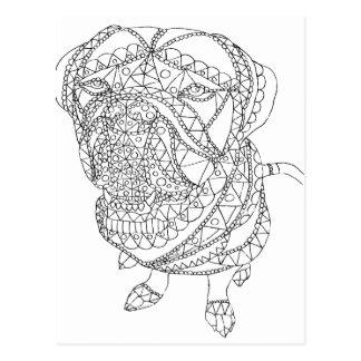 Postal Perro del libro de colorear que sienta el dibujo