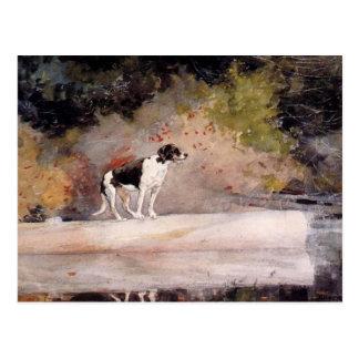 Postal Perro en un registro de Winslow Homer