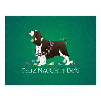 Postal Perro Feliz Naughty Dog del perro de aguas de