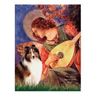 Postal Perro pastor de Shetland 7 - ángel de la mandolina