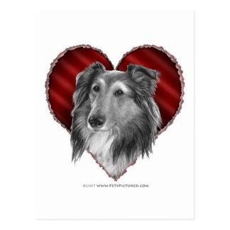 Postal Perro pastor de Shetland con el corazón