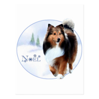 Postal Perro pastor de Shetland Noel