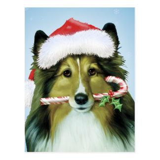 Postal Perro pastor de Shetland Santa