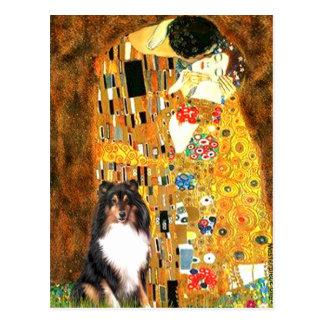 Postal Perro pastor de Shetland (Tri11) - el beso