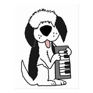 Postal Perro pastor inglés viejo divertido que juega el