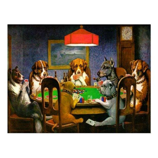 Postal Perros divertidos del vintage que juegan el póker